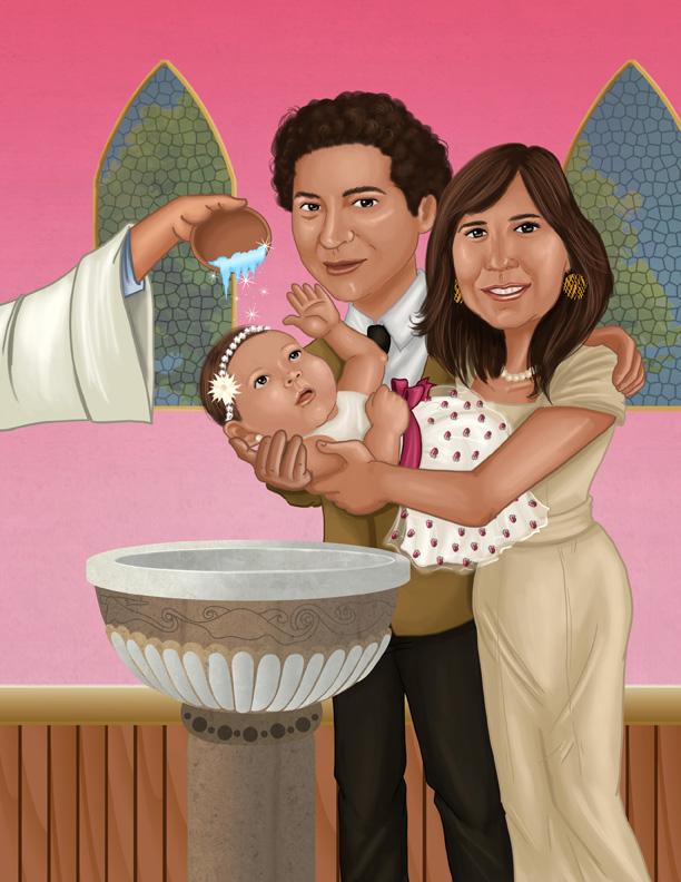 Caricatura Bautizo | Natalia Benavides - Caricatures - Illustration